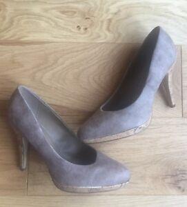 Nude Suede Platform Court Shoes Size 6