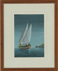 S-Bond-Signed-amp-Framed-20th-Century-Gouache-Maritime-Scene