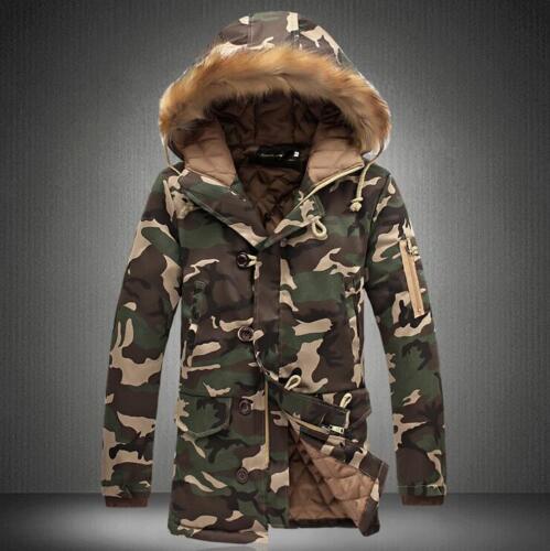 Winter Men Jackets Camouflage Fur Collar Hooded Coat Thicken Warm Parka Outwear