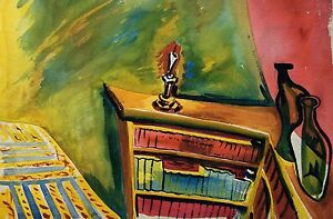 Expressionist-space-with-shelf-and-Candle-Modern-Dufy-Art-UM-1950