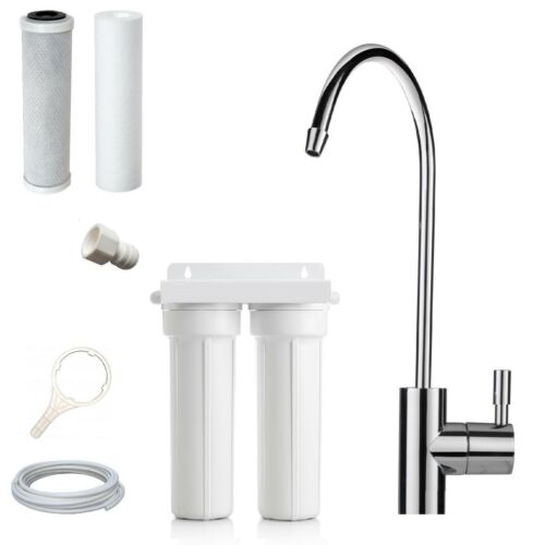 Premium Twin Undersink Pure Water Filter System Australia Sub Micron Carbon Tap