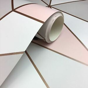 Apex Geometric Wallpaper Rose Gold Pink Fine Decor Fd41993