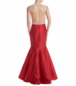 Xscape Women's Long Satin Trumpet Skirt with Bead Illusion Top 10