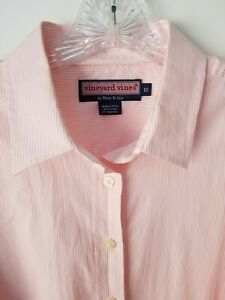 Vineyard Vines Shirt Womens Pink White Striped Long Sleeve Button Front Sz. 12