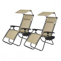 2-PCS Zero Gravity Chair Lounge Patio Chairs with canopy Cup Holder HO74