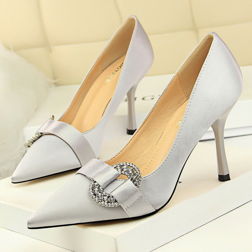 Women Pumps Pointed Toe Satin High Heel Stiletto Slip On Party shoes Rhinestone