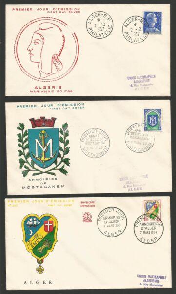 3 Fdc 1er Jour 1957- 58-59 Alger Et Mostaganem /t171
