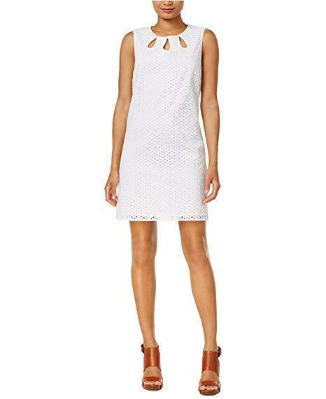 NEW Maison Jules Women's Eyelet Lace Cutout Shift Dress Bright White Sz S  89
