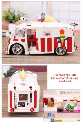 New 1000Pcs Genuine Technic Series The Ice Cream Car Set Building Blocks Bricks