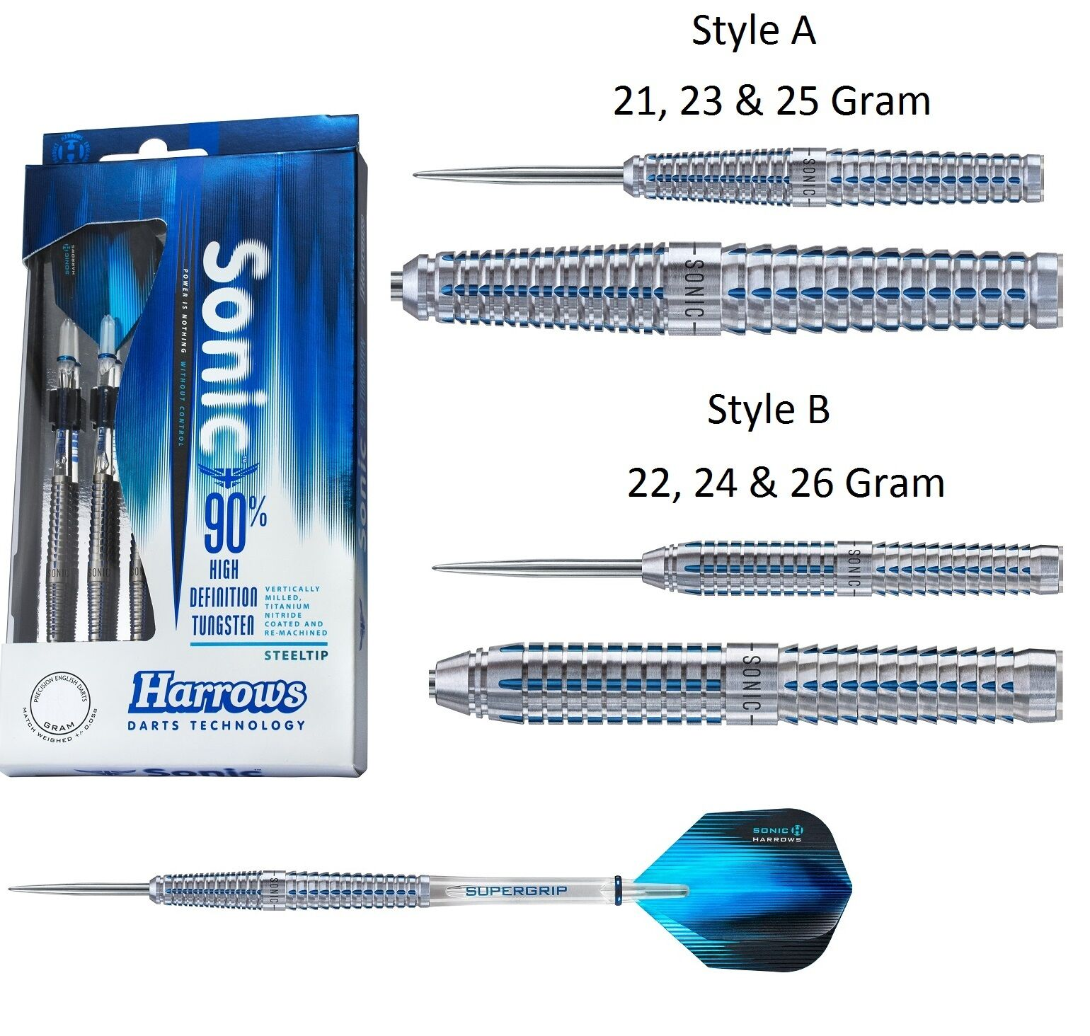 Harrows Sonic 90% Tungsten Steel Tip Darts - Choose 21g 22g 23g 24g 25g or 26g