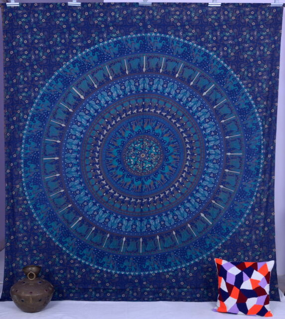Indian Tapestries Elephant Mandala Wall Hanging Tapestry Throw Decor Queen Size