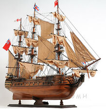 "HMS Surprise Tall Ship Assembled 37"" Built Handmade Wooden Model Boat New"