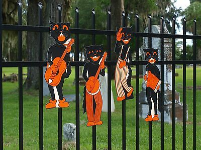 4 VINTAGE BEISTLE Retro Halloween SCAT CAT BAND  Party Decorations