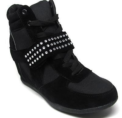 Black Hidden Wedge Crystal Studded Hi Top Sneaker Trainer Bootie  NEW