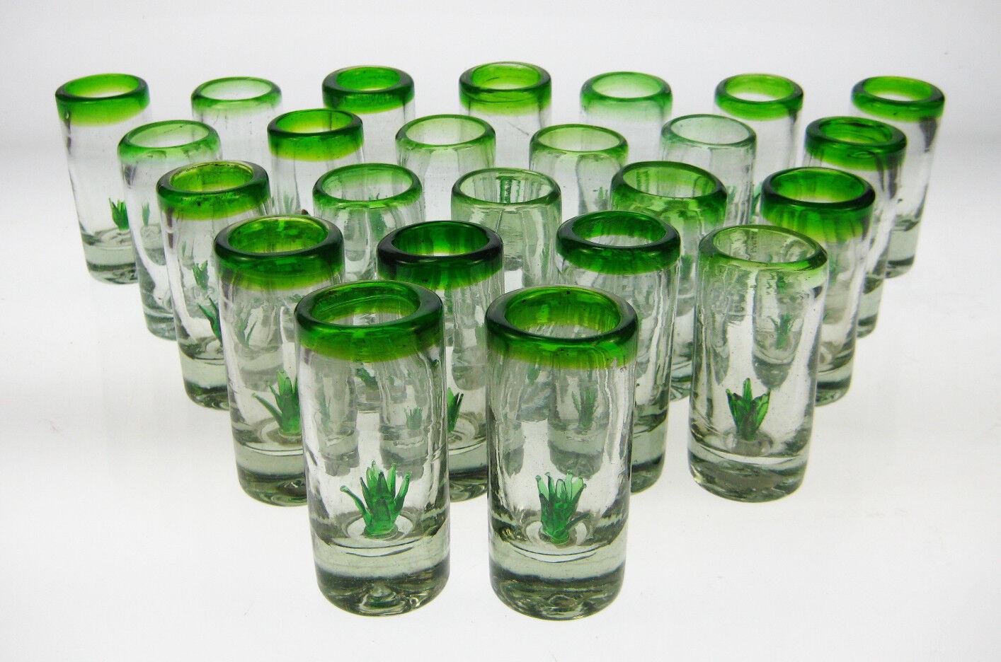 Mexicain verres à liqueur (24), soufflé artisanal avec Agave Cactus ou SAGUARO (Tequila)