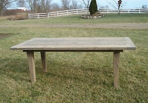 amish rustic plank farmhouse dining table barn wood country