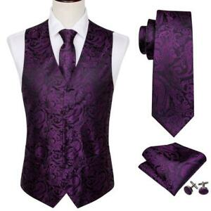 Mens-Paisley-Purple-Waistcoat-Vest-Silk-Necktie-Set-Formal-Prom-Casual-Wedding
