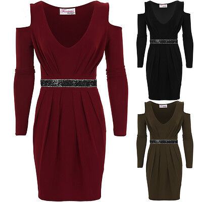 AnpassungsfäHig Ladies Cut Out Shoulder Long Sleeve Diamante V Neck Pleated Bodycon Dress