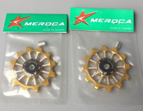2 pcs bike 12T Narrow Wide Jockey Wheels Ceramic Bearing Derailleur Pulley Gold
