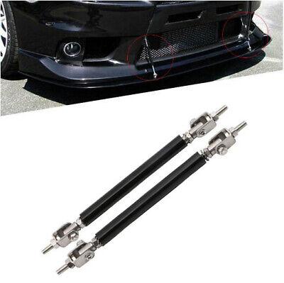 1Pair Adjustable Universal Front Rear Bumper Lip Splitter Strut Brace Rod Support Bar 10cm//15cm Black