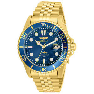 Invicta-Men-039-s-Watch-Pro-Diver-Quartz-Blue-Dial-Yellow-Gold-Bracelet-30612