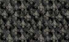 David Textiles French Couture WA 3541 4C 2 Fleur de Lis on Black  Cotton Fabric