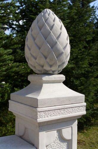 Pfeilerabdeckung 24x24 cm mit Pinienzapfen Skulptur Pfeilerschmuck Gartendeko