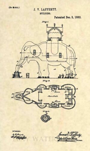 Vintage Atlantic City Circa 1882 309 Official Lucy Elephant US Patent Art Print