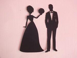 Bride groom bridesmaid best man wedding silhouette die cut 160gsm image is loading bride groom bridesmaid best man wedding silhouette die junglespirit Gallery