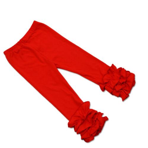 Multi Colors Baby Girls Toddler Kids Slim Icing Ruffle Leggings Cotton Pants