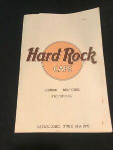 Vintage Original Hard Rock Cafe London Restaurant Menu