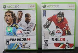 USED-XBOX-360-EA-SPORTS-NHL-09-COMPLETE-FIFA-SOCCER-09-COMPLETE-FREE-SHIPPING