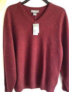 Details About Daniel Cremieux Mens Red V Neck Long Sleeve Cashmere Sweater Sizel