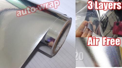 Flat Entire Car Glossy Mirror Chrome Vinyl Wrap Film Sticker Silver AC Select
