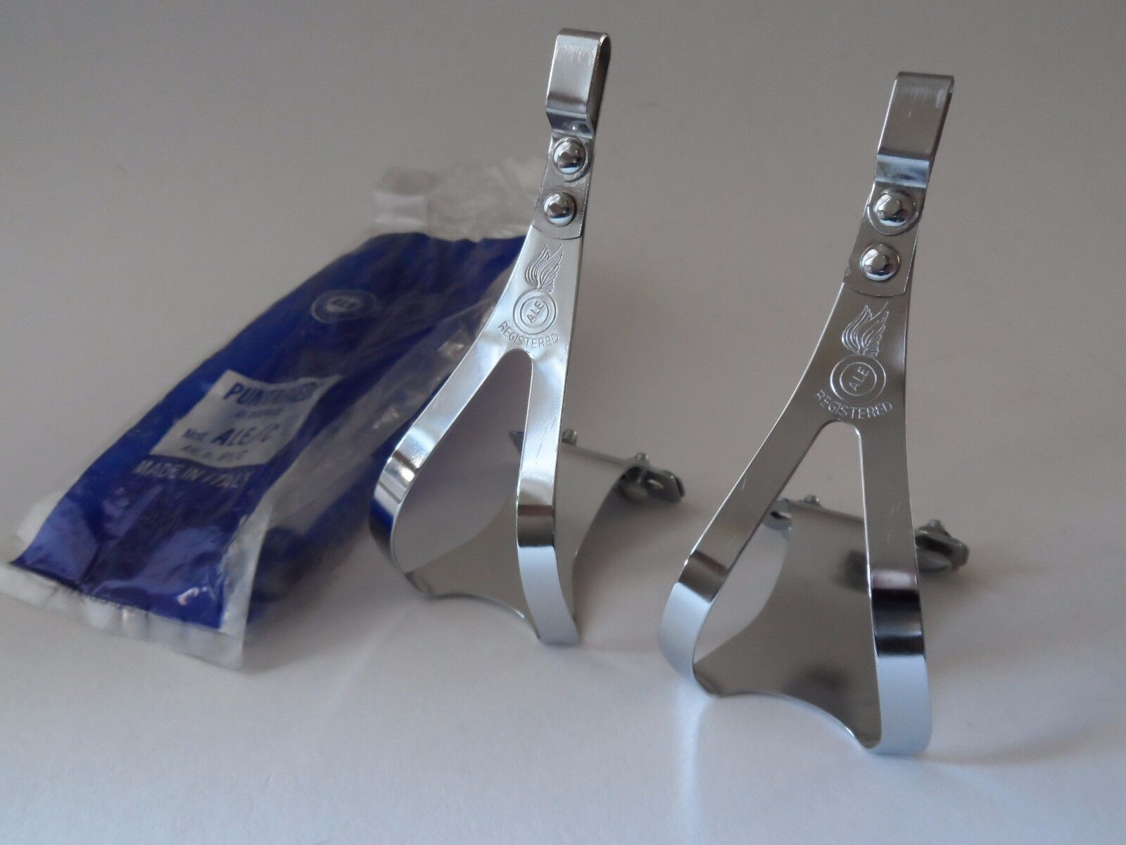 NOS Vintage 1970s ALE Torino Italian steel  pedal toe clips - Small  order now with big discount & free delivery