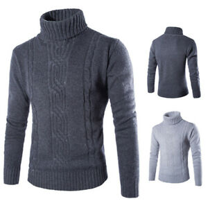 Men-039-s-British-Sweater-Winter-Thick-Knitted-Pullover-Turtleneck-Casual-Knitwear