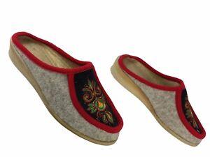 Tolle Damen Slipper Filz Sandalen Hausschuhe Ladies House Shoes EUR 40