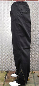 Black-Italian-Army-Style-Straight-Leg-Trousers-w-Knee-Pads-amp-Zips-Size-28-034-NEW