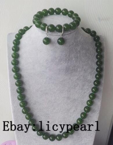 schöne 12mm tiefe grüne Jade Halskette 16-25 Zoll Armband 7,5 Zoll /& Ohrringe Se