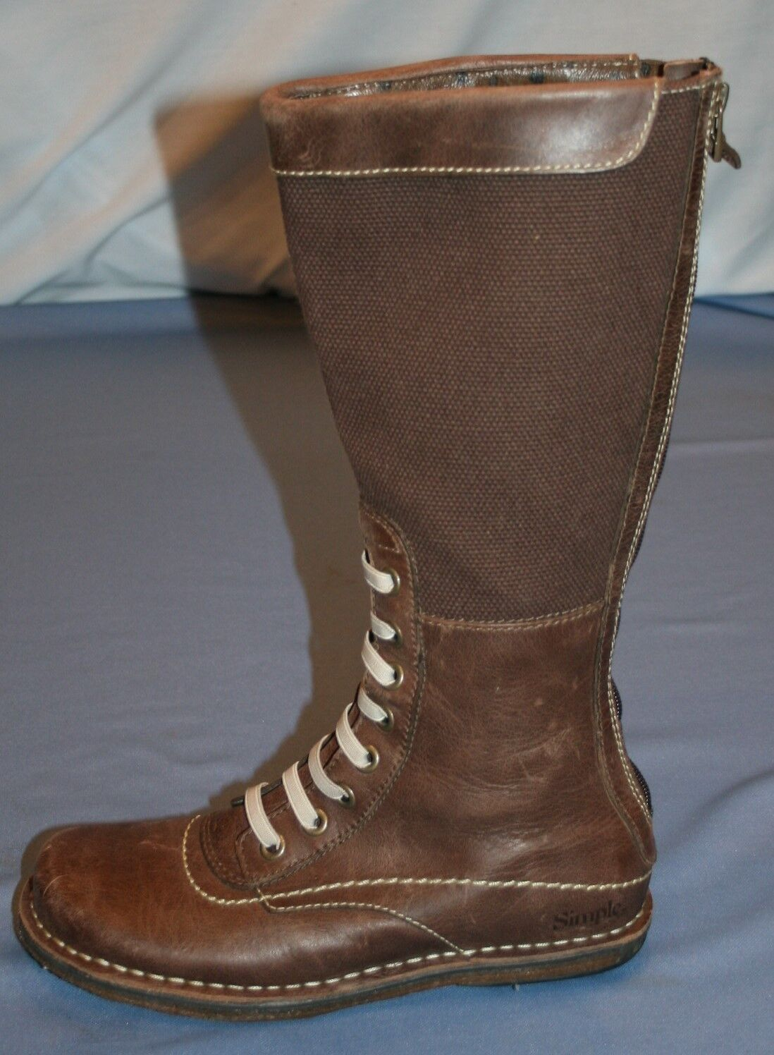 Simple Womens Tall Brown Boots Sz 6  Riding Leather Canvas Tall