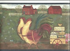 Image Is Loading BARNYARD SCENE WITH HOUSES CHICKEN ROOSTER WALLPAPER BORDER
