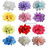 New Fashion Woman Lady Crystal Satin Peony Flower Hair Clip Hairpin Brooch
