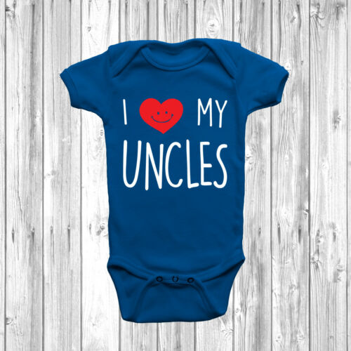 I Love My Uncles Baby Grow Body Suit Vest Cute Heart Newborn 0-18 Months