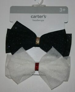 New-Carter-039-s-2-Pack-Headwraps-Black-White-Glitter-Bows-Hair-Accessory-NWT-3