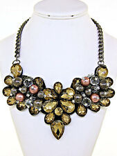 Big Bold Formal Special Event Cognac Brown Topaz Floral Pearl Statement Necklace