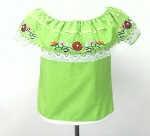 WOMENS-EMBROIDERED-MEXICAN-HANDMADE-BLOUSE-Lime-Green-Size-6