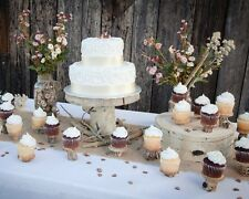 "Aspen Wood Tree Slice Wedding Cake Stand Platter - Wedding Decor 8"" x 11"""