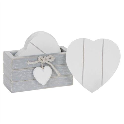 Provence gris set 6 Coeur Blanc Coasters 10 cm haute Shabby Bois Chic Coeur Détail