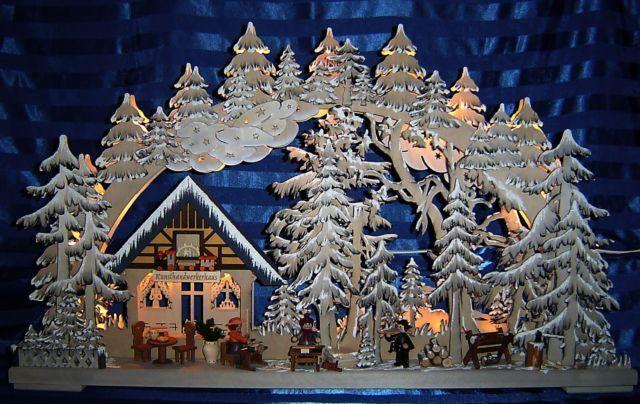 Schwibbogen 3d atelier avec gelée et personnages 72 x 44 cm les Monts Métallifères Neuf 10608