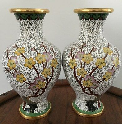 Enthusiastic Pair 19th/20thc Chinese Cloisonne Vaseplum Blossom Motifs 21.5cm Tall Comfortable And Easy To Wear Asian Antiques Antiques